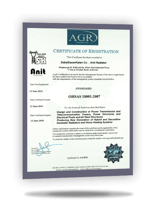 AGR ISO 18001 certificate for Anit decorative radiators