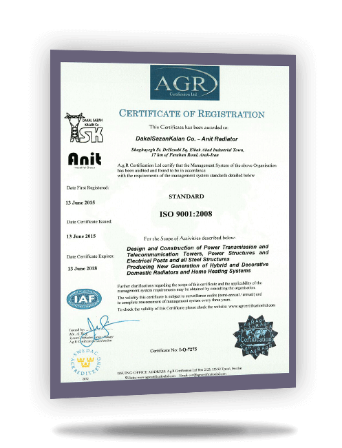 AGR ISO 9001 certificate for Anit decorative radiators