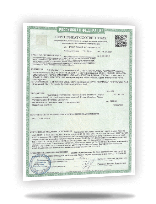 Russian GOST standard certificate for Anit